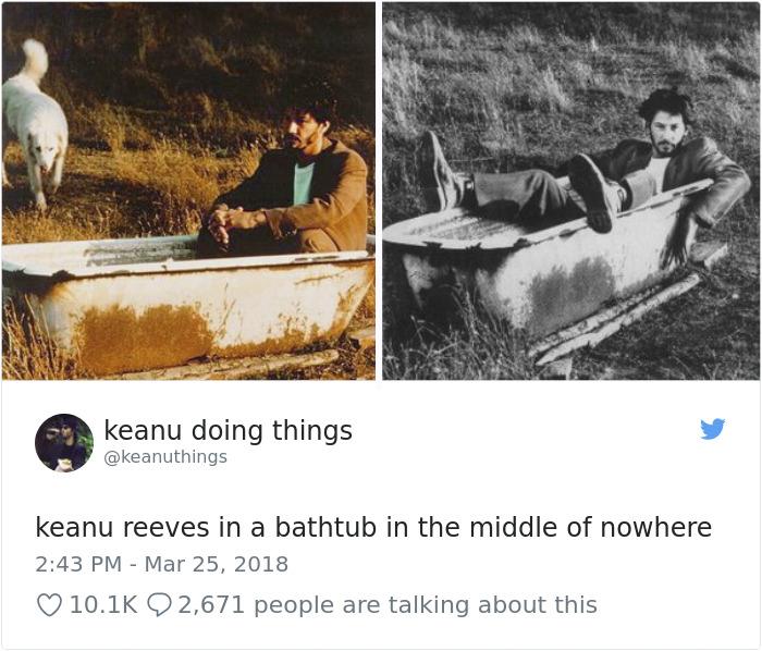 Keanu Reeves en una bañera en medio de ninguna parte
