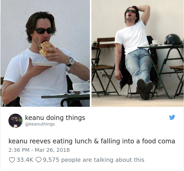 """Keanu Reeves comiendo su almuerzo y sufriendo el """"mal del puerco"""""""