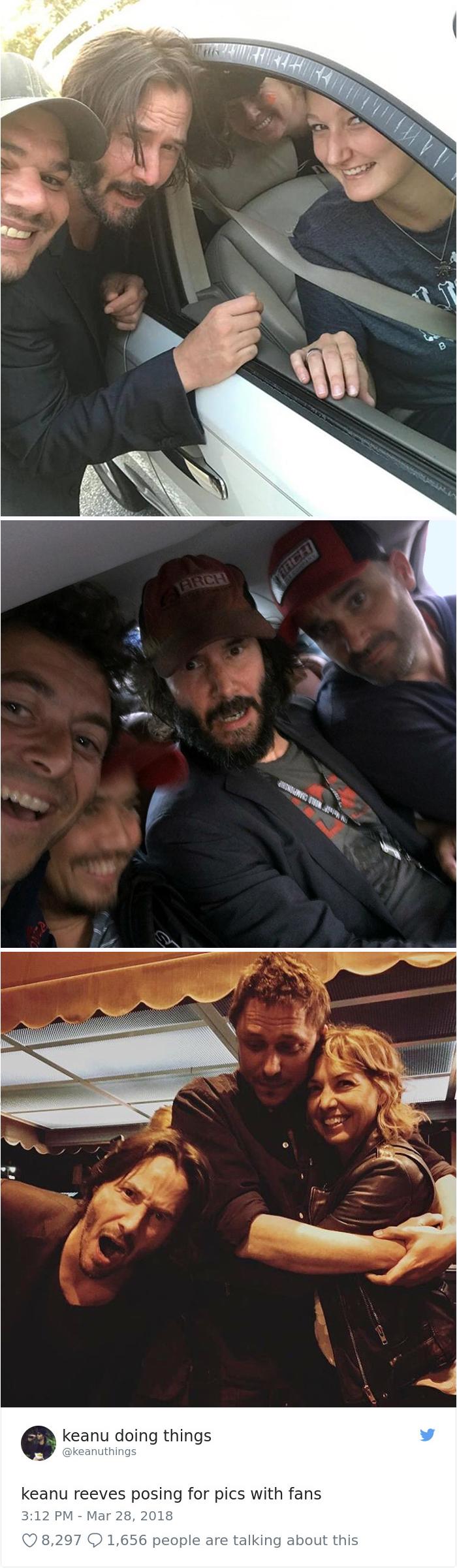 Keanu Reeves posando en fotos con los fans