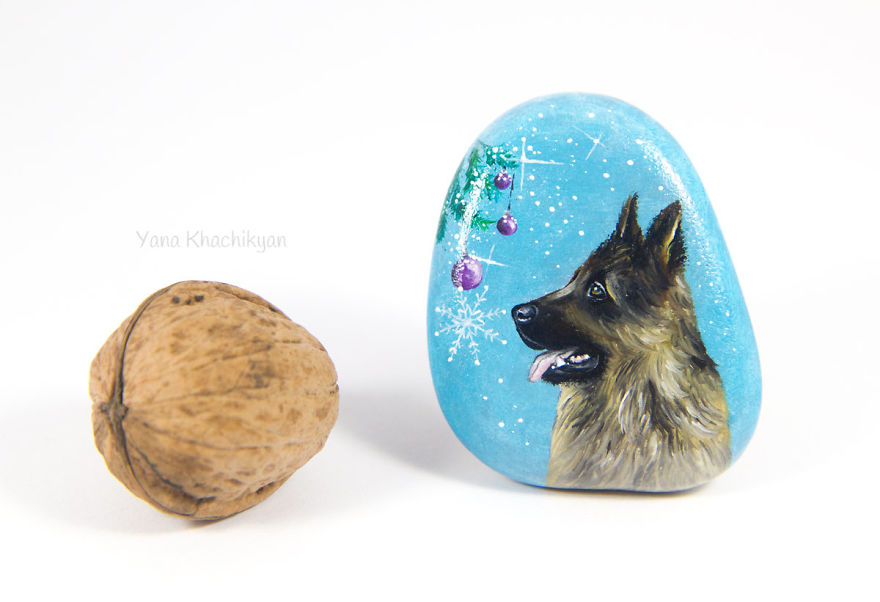 I Paint Miniature Pet Portraits On Stones Which Touch My Heart Every Single Time