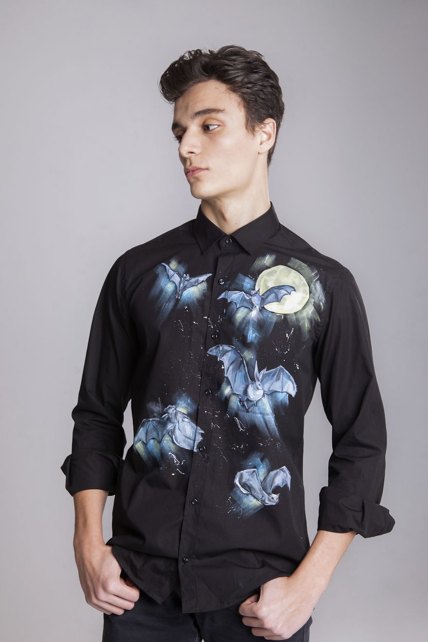 I Used Shirts As A Canvas And Painted Unique And Eye-Catching Designs To Show How Boring Shirt Can Be Turned To The Coolest Clothing