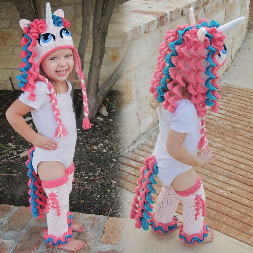 Crochet Unicorn Hat, Tail & Leggings