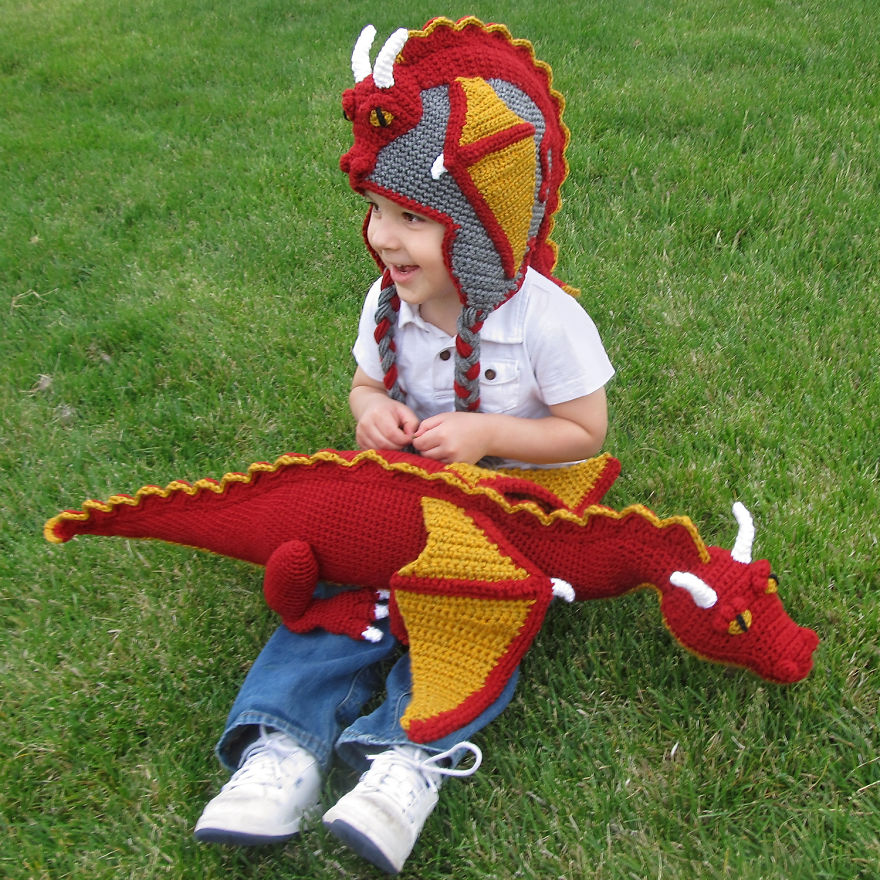 Crochet Dragon Hat And Matching Toy