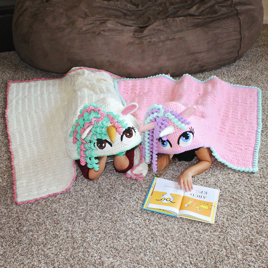 Crochet Hooded Unicorn Blanket