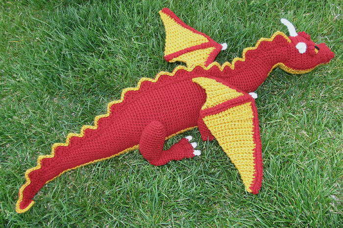 Crochet Stuffed Dragon Toy