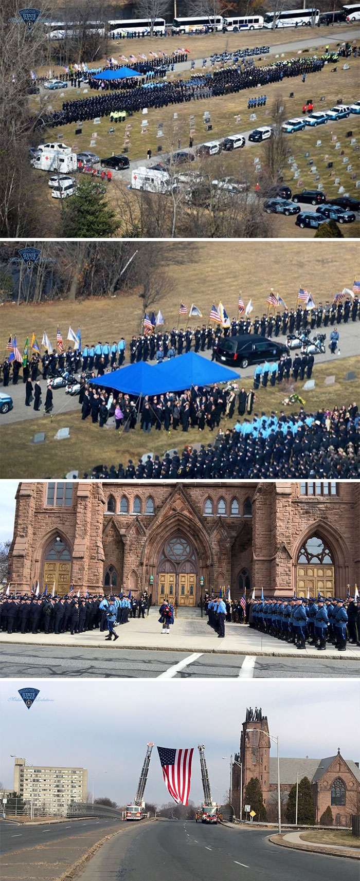 Thousands Of Police Officers From Across The United States Attended Funeral Services In Massachusetts For Officer Ashley Guindon