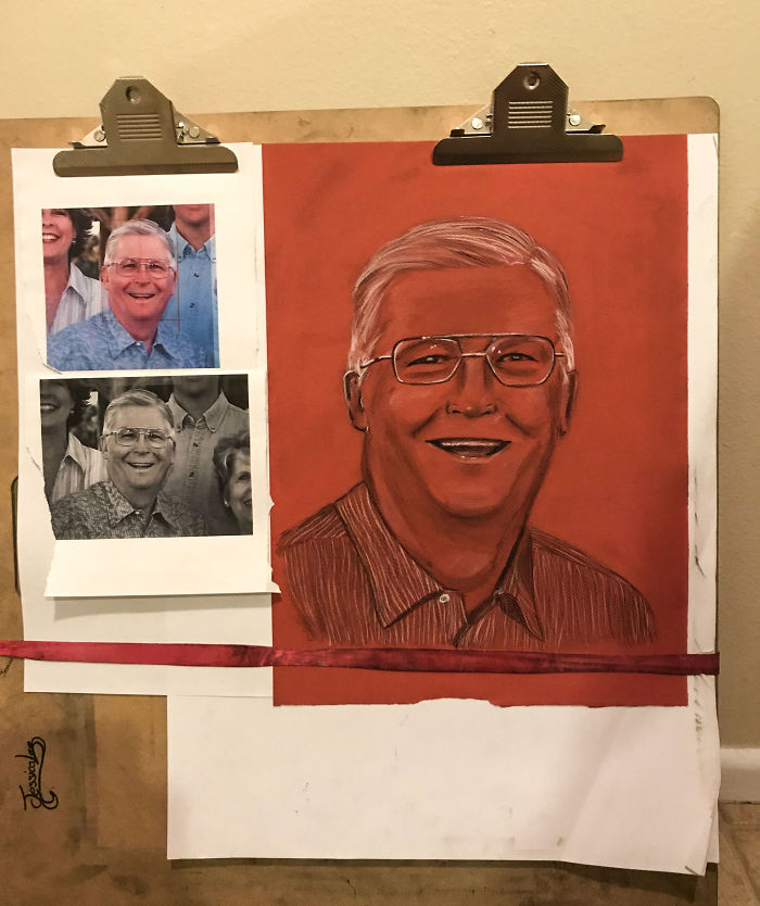 My Grandfather Died This Week. My Wife Asked If She Could Do A Charcoal Drawing For His Funeral On Saturday. I Miss That Smile