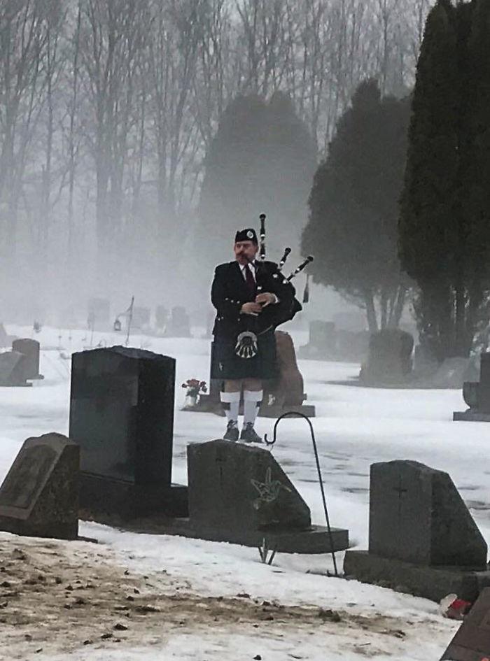 Bagpiper At My Gramps Funeral. Rip Pop