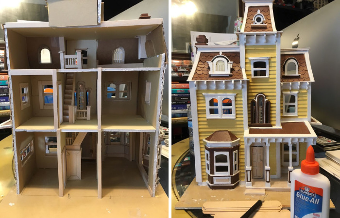 I Made A Dollhouse Out Of Boxes Of Old Tongue Depressors That Were Being Discarded