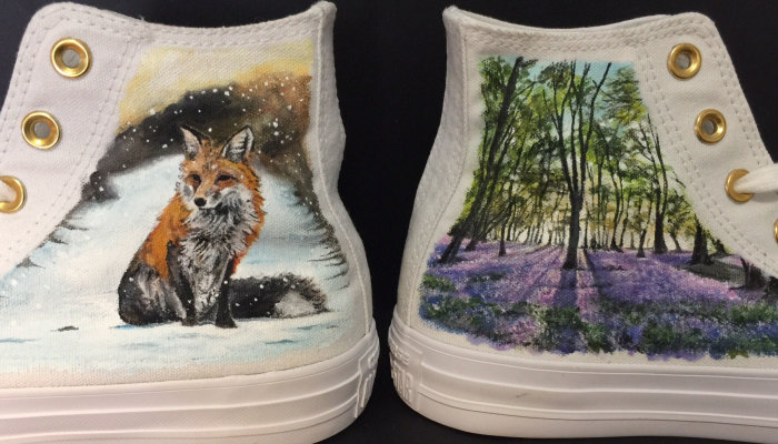 I Painted Beautiful Scenes From The Natural World On A Pair Of Converse