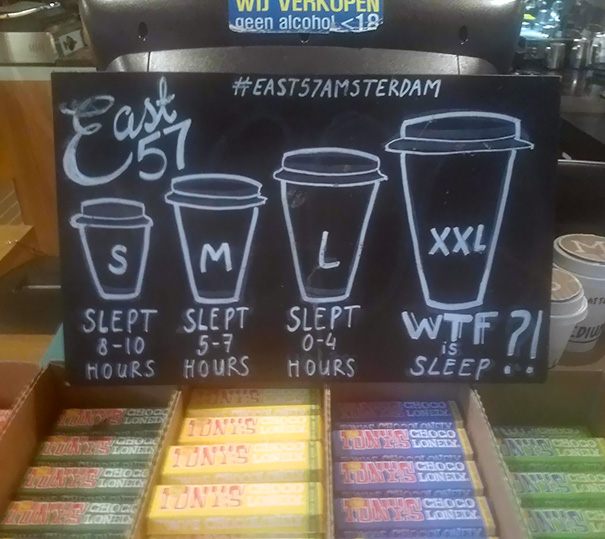 Coffee Shop Drink Sizes Based On How Much Sleep You Had Last Night