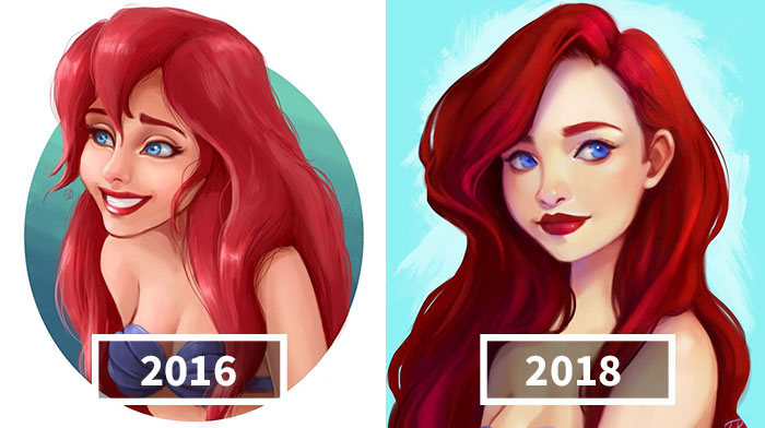Artist Compares Her Illustrations To Show What Two Years Of Practice Can Do