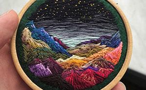 Esta bordadora usa hilo en vez de pintura para crear increíbles escenas de paisajes