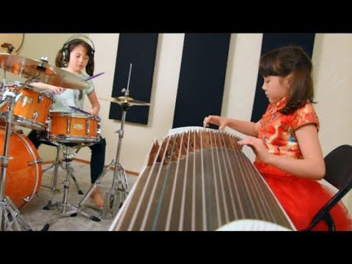 This Little Girl Started Learning Drums And Chinese Guzheng When She Was 4 Years Old…now She Is 6 And Doing Awesome!