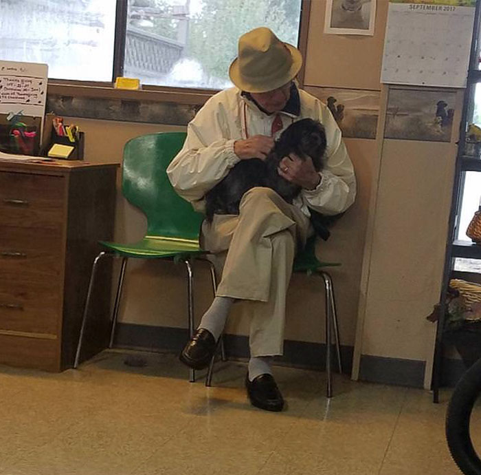 Older Gentleman Comes To Grooming Shop Just To Get Dog Snuggles. His Dog Passed Away A Couple Years Ago And His Wife Won't Allow Him To Get Another Dog Because They're Too Old For A Puppy And Can't Handle The Broken Heart Of An Older Dog