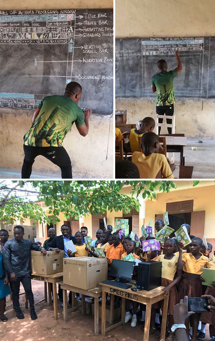 Teacher In Ghana Teaching 'Ms Word' On Chalkboard Went Viral And Received Overwhelming Donations From All Over The World