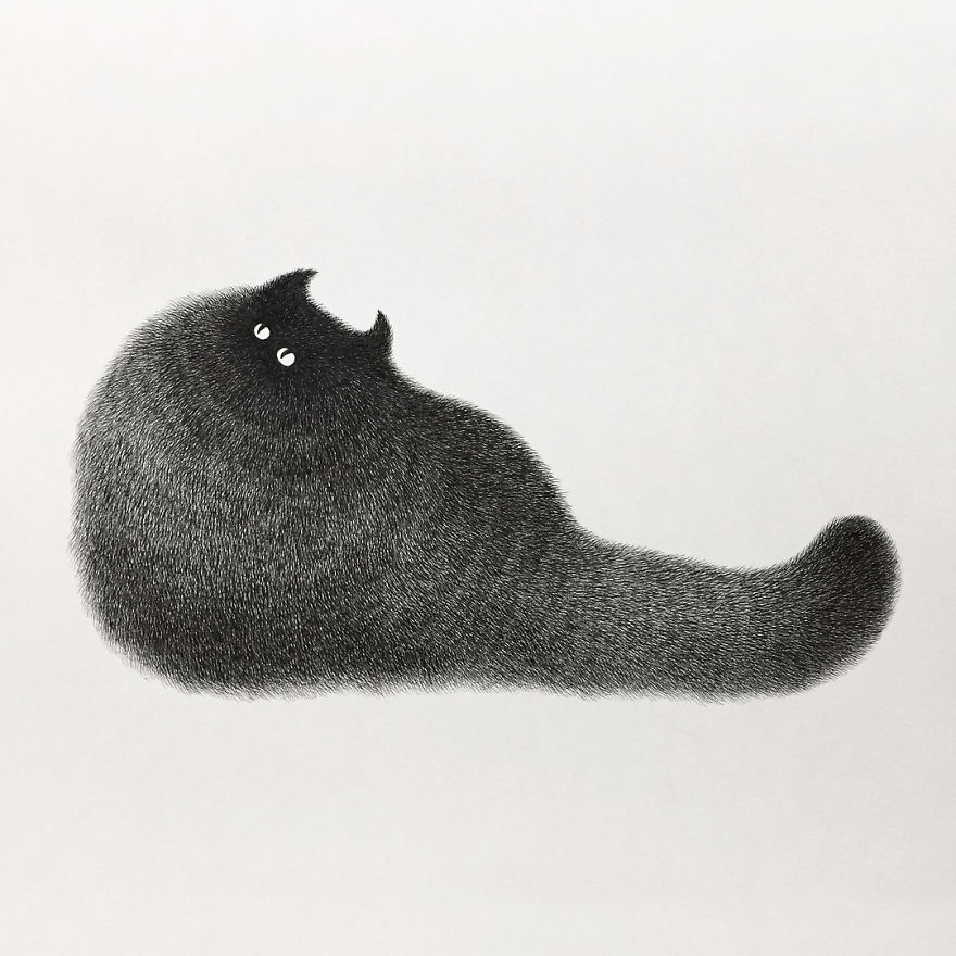 Malaysian Artist S Puffy Cat Drawings Are Just Adorable