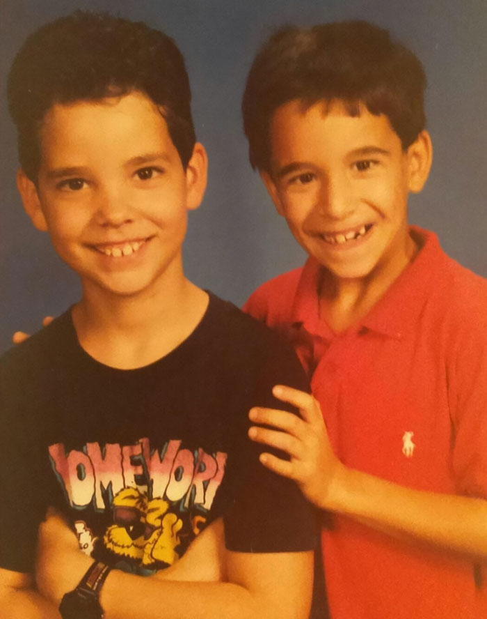 Me (In Red) And My Much More Photogenic Older Brother. Probably Around 3rd Grade