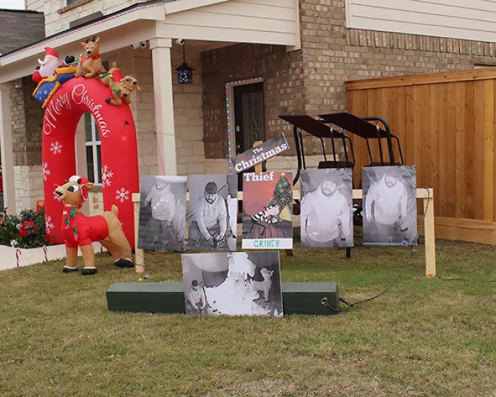 Le robaron sus renos decorativos, así que puso fotos del ladrón en el jardín en su lugar