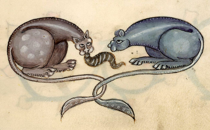 Bipedal Cat Monsters Eating A Leech?