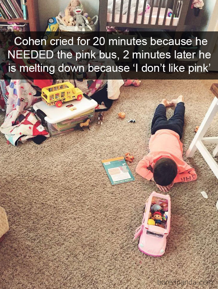 Cohen Cried For 20 Minutes Because He Needed The Pink Bus, 2 Minutes Later He Is Melting Down Because 'I Don't Like Pink'