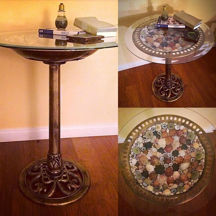 Sea Shell Side Table, Made With Hand Collected Sea Shells, A Bird Bath, And A Glass Table Top.