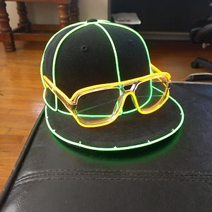 I Made A Custom Hat And Glasses Using El Wire For Music Festivals