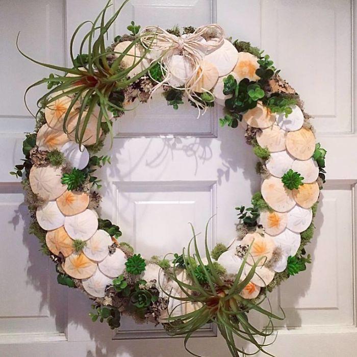 Sand Dollar And Succulent Wreath