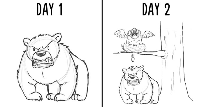 I Challenged Myself To Add One Character A Day To This Bear Drawing For 19 Days Until I Got This Result