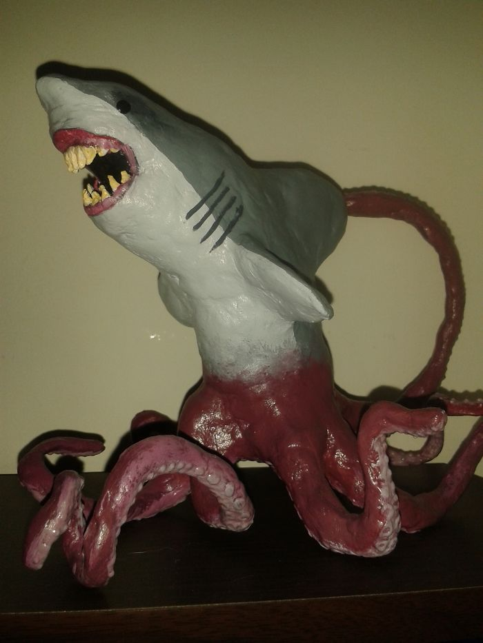 I Made A Sharktopus Figurine For My Sister's Birthday – My First Time Using Modelling Clay.