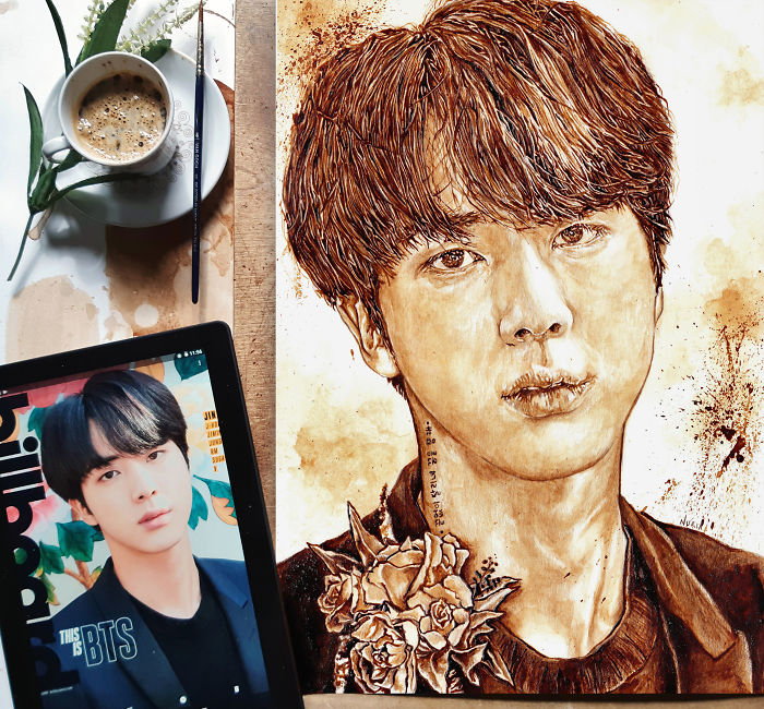 I'm Back At Drawing With Coffee Illustrations Of Bts