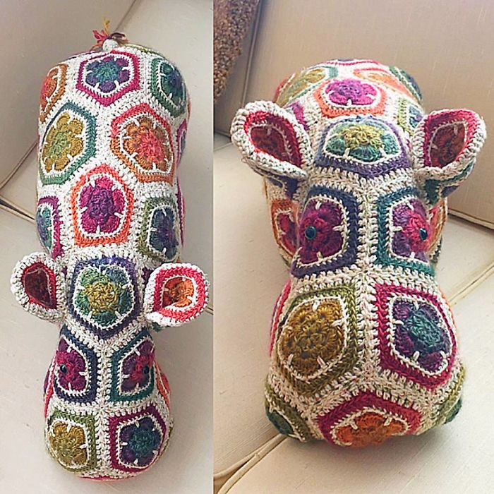 African Flower Crochet Hippo