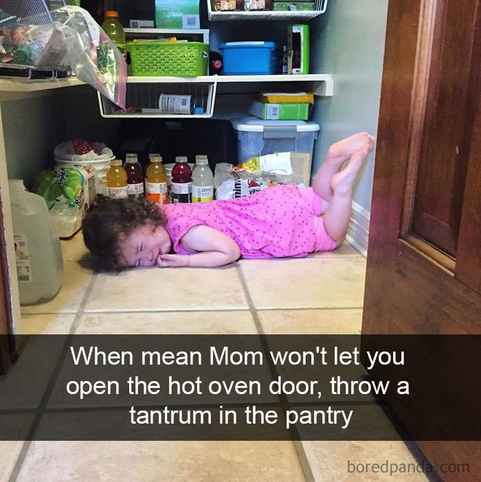 When Mean  Mom Won't Let You Open The Hot Oven Door, Throw A Tantrum In The Pantry