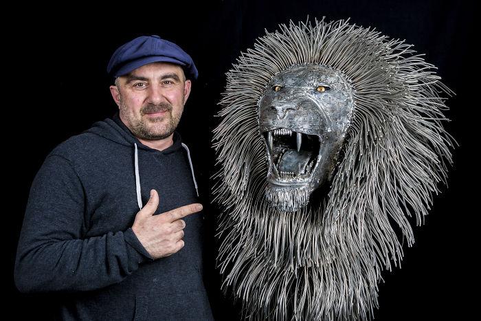 My Recent Work, Stainless Steel Lion