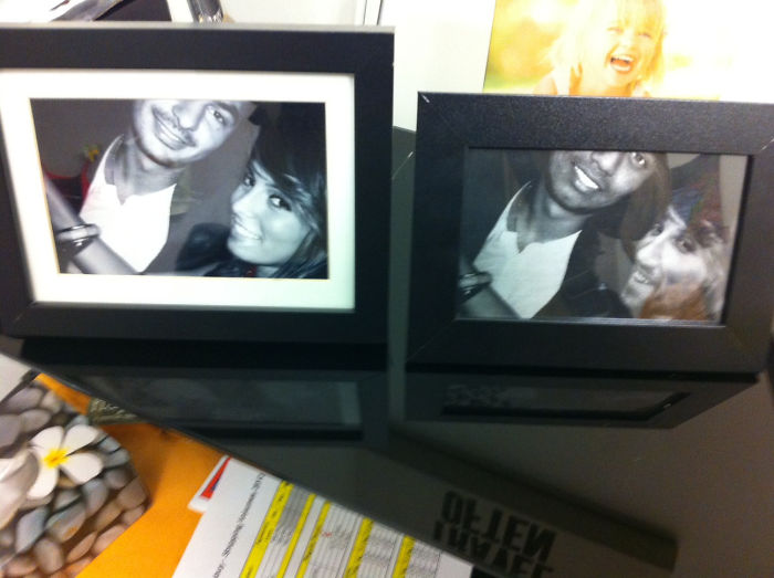 While My Boss Was On Vacay, I Switched The Pic Of His Gf And Him, With An Employee And Myself... Nailed It