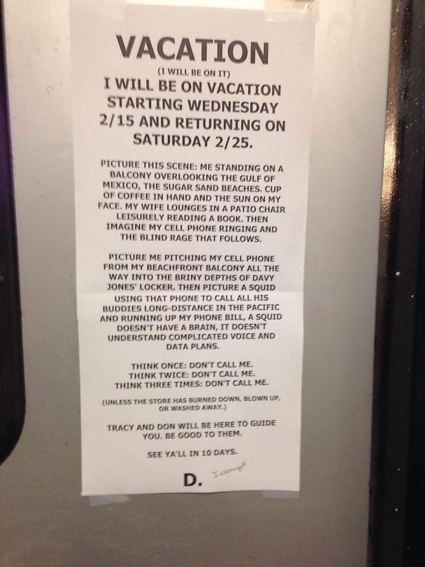 My Manager Left For Vacation And He Left This Note