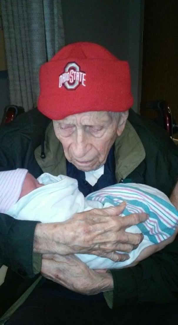 My 100-Year-Old Grandpa With My 1-Day-Old Cousin