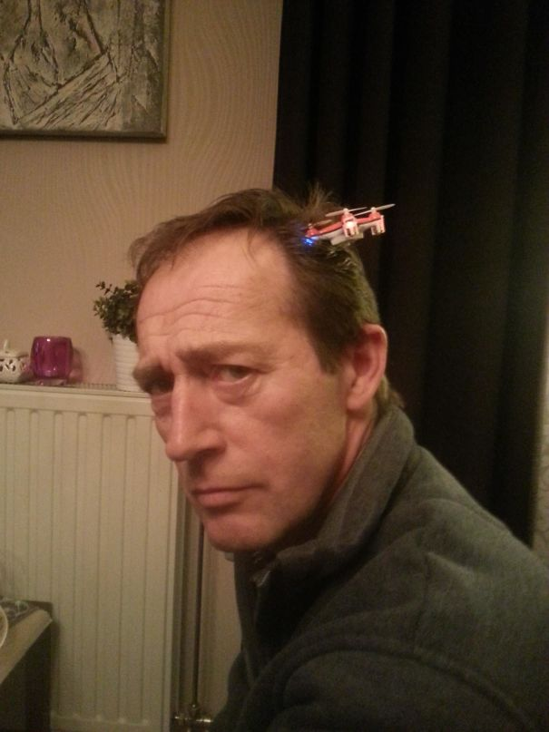 Was Trying To Land My Quadcopter On My Dad's Head