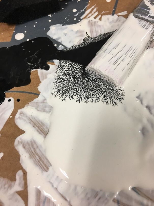 Was Painting A Project When The Black And White Paint Mixed And Made This Design