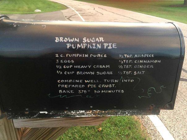 This Mailbox Has A Recipe For Pumpkin Pie