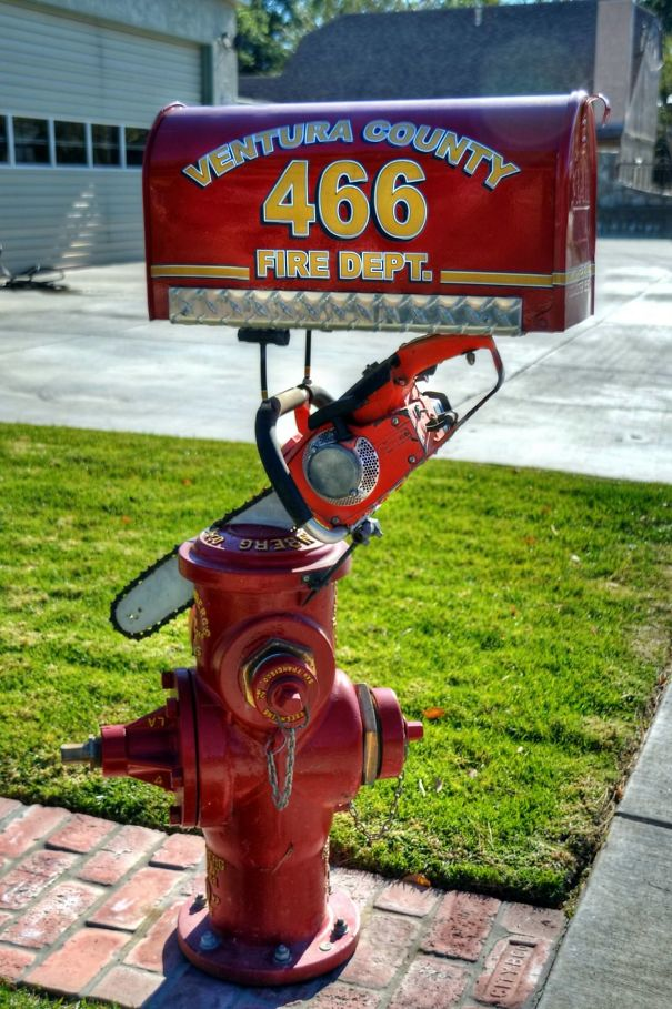 The Local Fire House's Mailbox Is Art