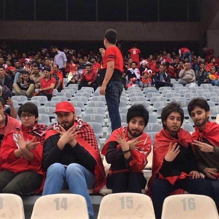 Women Are Not Allowed To Attend Soccer Matches In Iran. 5 Girls Sneak In Azadi Stadium In Disguise To Celebrate Persepolis Championship In Iran's Persian Gulf Pro League