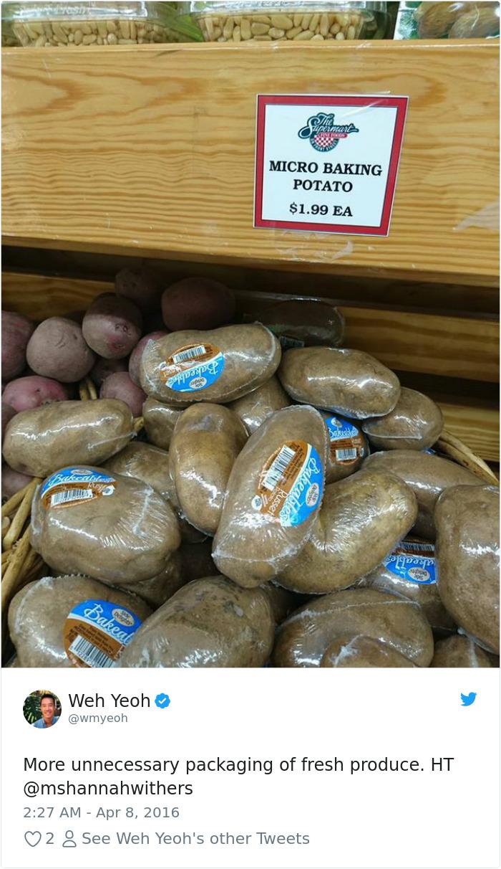 Patatas envueltas individualmente