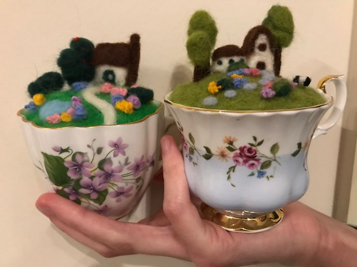 Antique Teacup Fairy Gardens. My Daughter And I Made These By Felting Wool!
