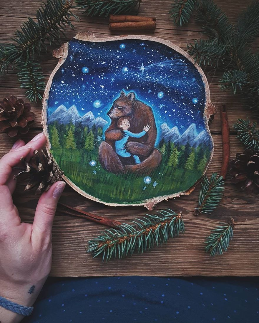 I Love To Paint On Wood Pieces Found During My Forest Wanderings.