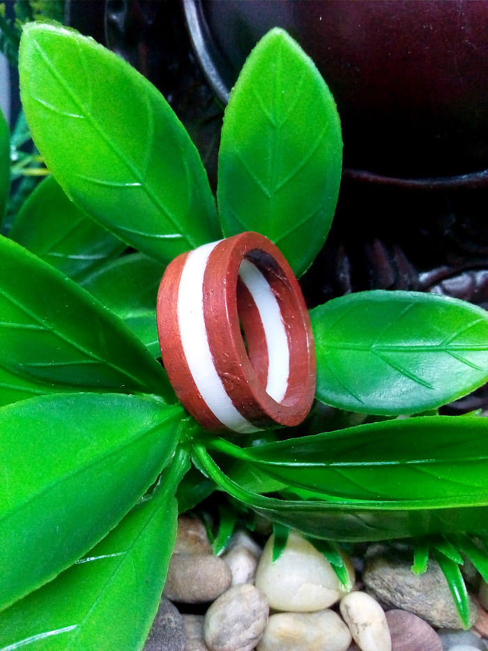 Three Layered Wood Ring With A Little Piece Of Acryl