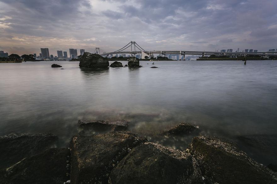 Tokyo Bay And Rainbow Bridge From Odaiba