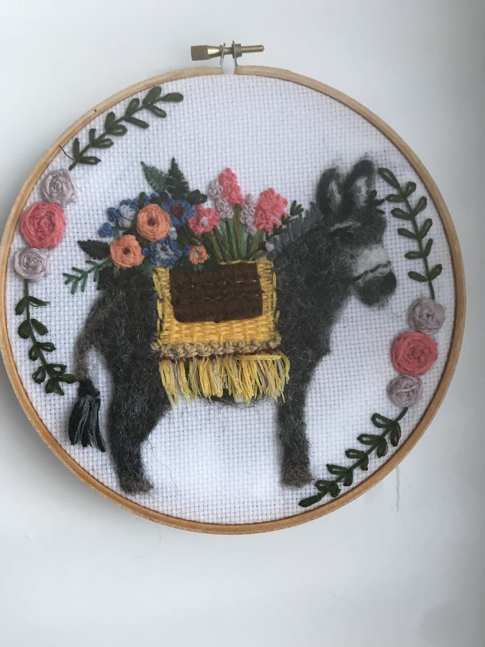 Hand Embroidered And Needle Felted Donkey On 7″ Hoop. My First Ever Sale On My New Etsy Store!