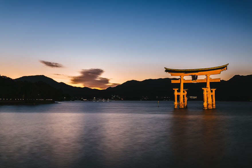 View Of The Floating Torii Gate From The Itsukushima Shrine