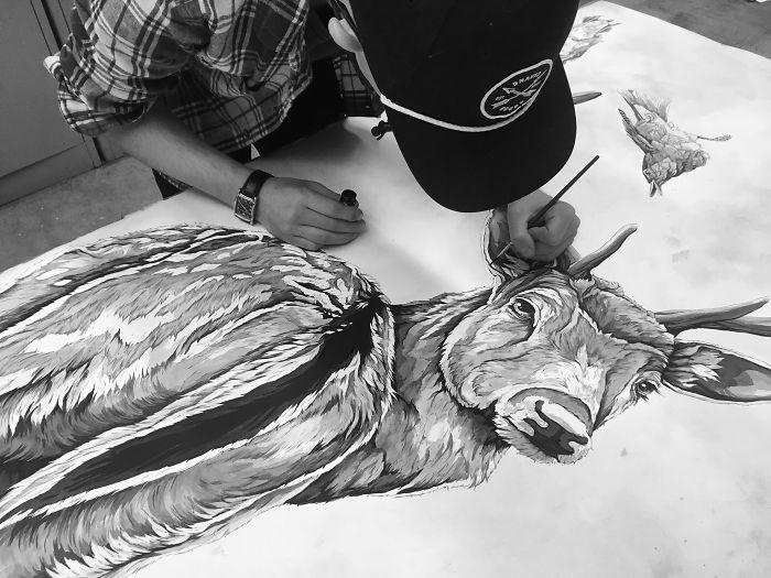 I Spent Two Weeks Drawing This Huge Deer